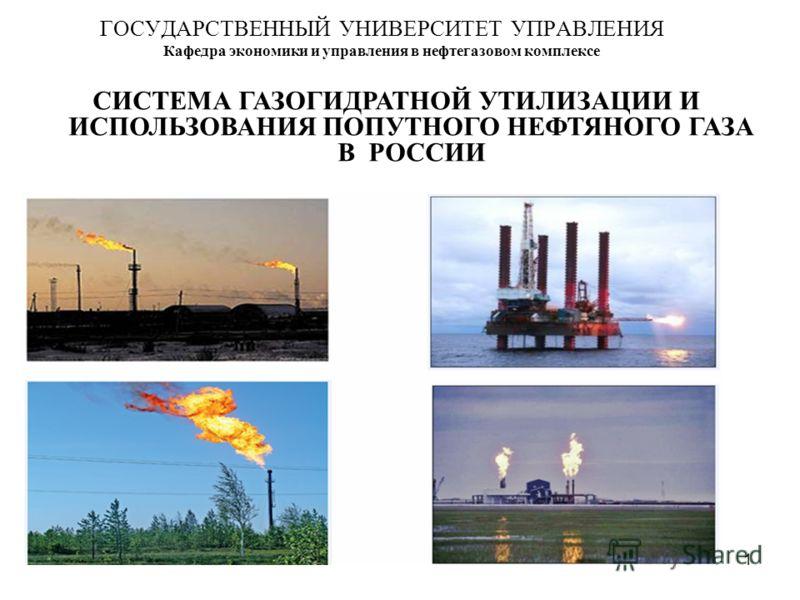 1 ГОСУДАРСТВЕННЫЙ УНИВЕРСИТЕТ УПРАВЛЕНИЯ Кафедра экономики и управления в нефтегазовом комплексе СИСТЕМА ГАЗОГИДРАТНОЙ УТИЛИЗАЦИИ И ИСПОЛЬЗОВАНИЯ ПОПУТНОГО НЕФТЯНОГО ГАЗА В РОССИИ