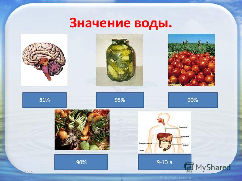Значение воды. 04.09.201214 81%95%90% 9-10 л