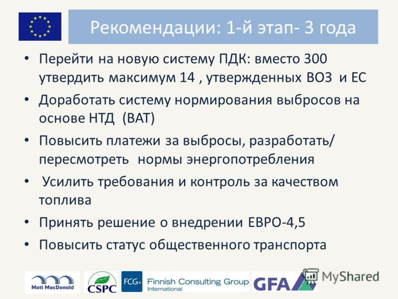 Рекомендации: 1-й этап- 3 года Перейти на новую систему ПДК: вместо 300 утвердить максимум 14, утвержденных ВОЗ и ЕС Доработать систему нормирования выбросов на основе НТД (ВАТ) Повысить платежи за выбросы, разработать/ пересмотреть нормы энергопотре