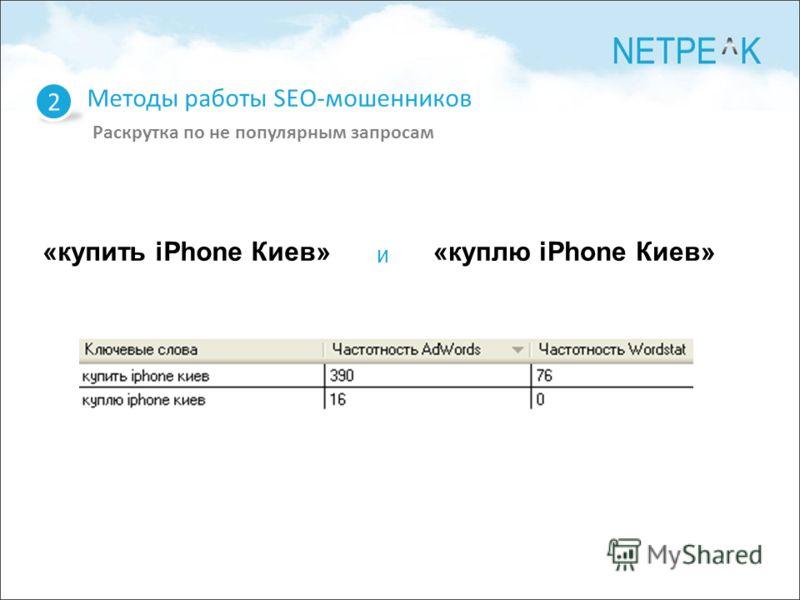 2 Методы работы SEO-мошенников Раскрутка по не популярным запросам «купить iPhone Киев»«куплю iPhone Киев» и