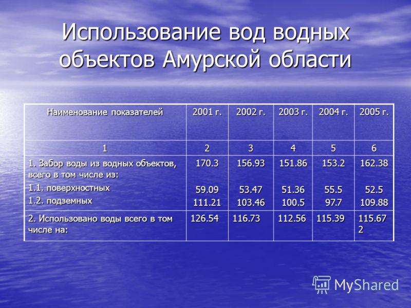 Использование вод водных объектов Амурской области Наименование показателей 2001 г. 2002 г. 2003 г. 2004 г. 2005 г. 123456 1. Забор воды из водных объектов, всего в том числе из: 1.1. поверхностных 1.2. подземных 170.359.09111.21156.9353.47103.46151.