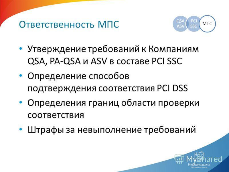 Ответственность МПС QSA ASV PCI SSC МПС Утверждение требований к Компаниям QSA, PA-QSA и ASV в составе PCI SSC Определение способов подтверждения соответствия PCI DSS Определения границ области проверки соответствия Штрафы за невыполнение требований