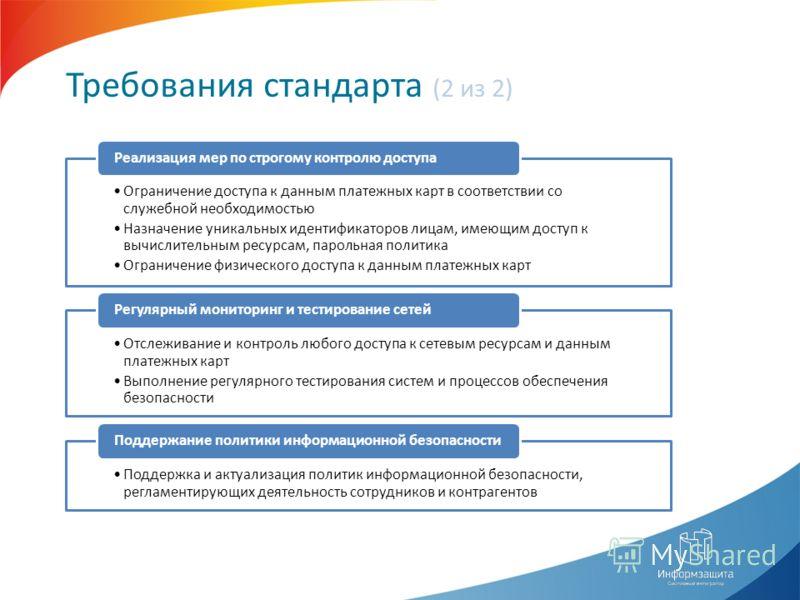 Требования стандарта (2 из 2) Ограничение доступа к данным платежных карт в соответствии со служебной необходимостью Назначение уникальных идентификаторов лицам, имеющим доступ к вычислительным ресурсам, парольная политика Ограничение физического дос