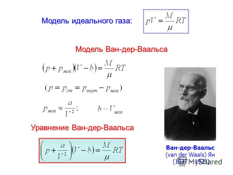 Модель Ван-дер-Ваальса Уравнение Ван-дер-Ваальса Ван-дер-Ваальс (van der Waals) Ян (1837 – 1923) Модель идеального газа: