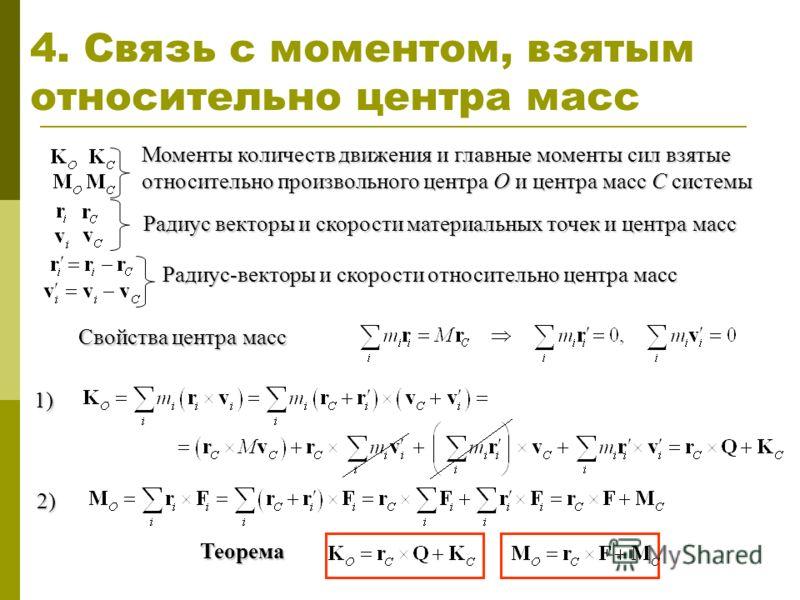 4. Связь с моментом, взятым относительно центра масс Теорема Моменты количеств движения и главные моменты сил взятые относительно произвольного центра O и центра масс С системы Радиус векторы и скорости материальных точек и центра масс Радиус-векторы