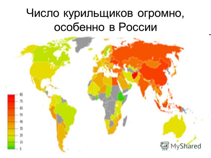 Число курильщиков огромно, особенно в России
