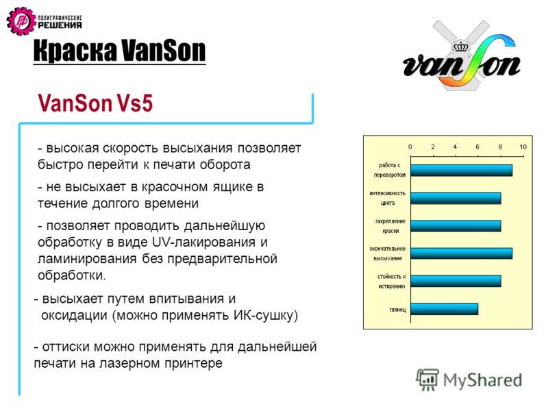 Краска VanSon VanSon Vs5 - высокая скорость высыхания позволяет быстро перейти к печати оборота - не высыхает в красочном ящике в течение долгого времени - позволяет проводить дальнейшую обработку в виде UV-лакирования и ламинирования без предварител