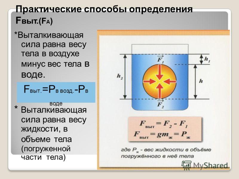 Практические способы определения F выт.(F А ) *Выталкивающая сила равна весу тела в воздухе минус вес тела в воде. * Выталкивающая сила равна весу жидкости, в объеме тела (погруженной части тела) F выт. =P в возд. -P в воде