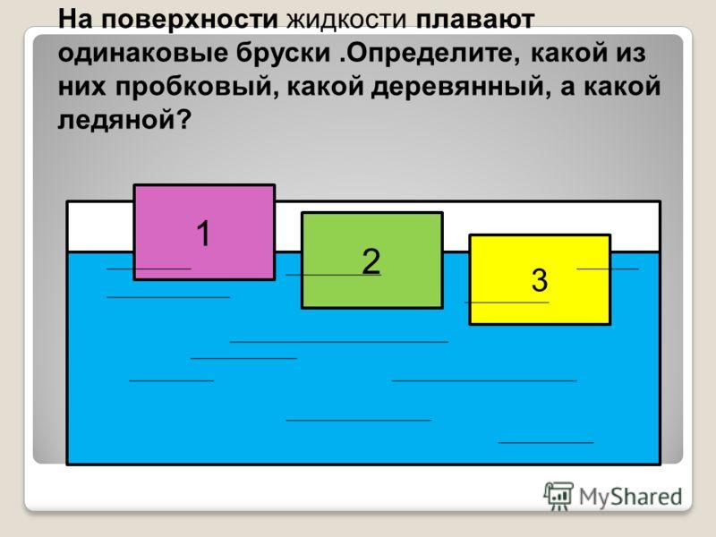 На поверхности жидкости плавают одинаковые бруски.Определите, какой из них пробковый, какой деревянный, а какой ледяной? 1 2 3