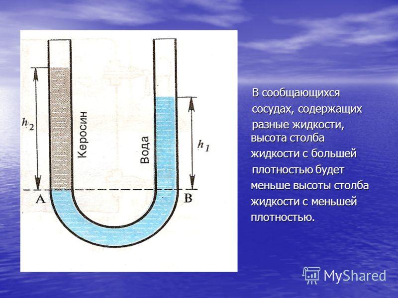 В сообщающихся В сообщающихся сосудах, содержащих сосудах, содержащих разные жидкости, высота столба разные жидкости, высота столба жидкости с большей жидкости с большей плотностью будет плотностью будет меньше высоты столба меньше высоты столба жидк