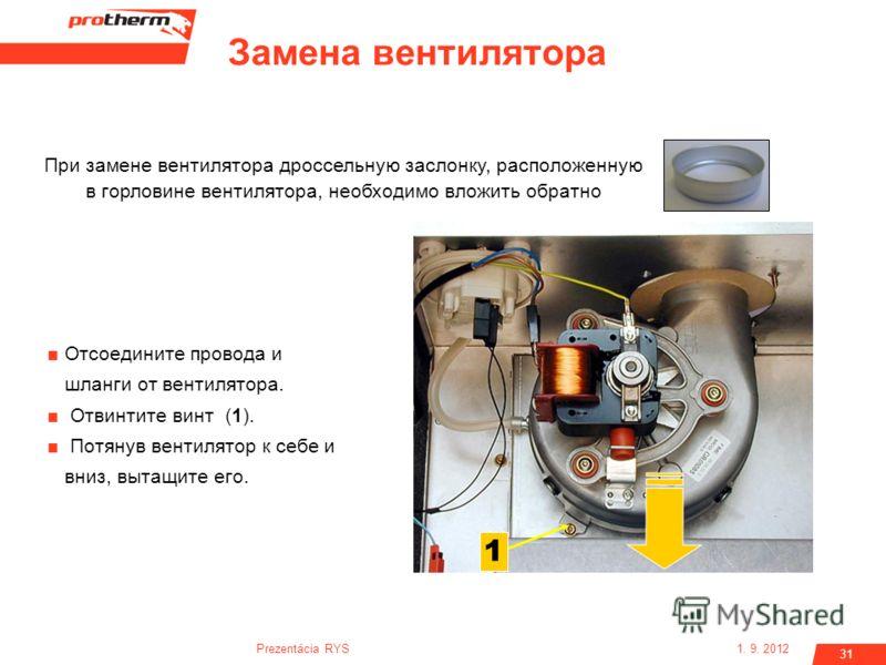 1. 9. 2012Prezentácia RYS 31 Отсоедините провода и шланги от вентилятора. Отвинтите винт (1). Потянув вентилятор к себе и вниз, вытащите его. 1 При замене вентилятора дроссельную заслонку, расположенную в горловине вентилятора, необходимо вложить обр