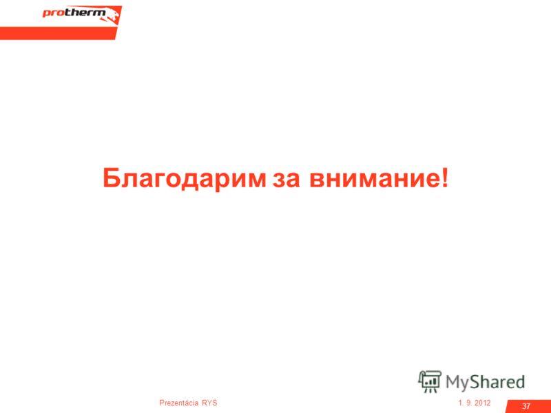 1. 9. 2012Prezentácia RYS 37 Благодарим за внимание!