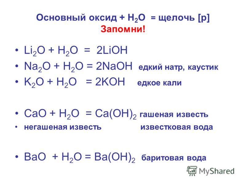 Основный оксид + H 2 O = щелочь [p] Запомни! Li 2 O + H 2 O = 2LiOH Na 2 O + H 2 O = 2NaOH едкий натр, каустик K 2 O + H 2 O = 2KOH едкое кали СаО + Н 2 О = Са(ОН) 2 гашеная известь негашеная известь известковая вода ВаО + Н 2 О = Ва(ОН) 2 баритовая