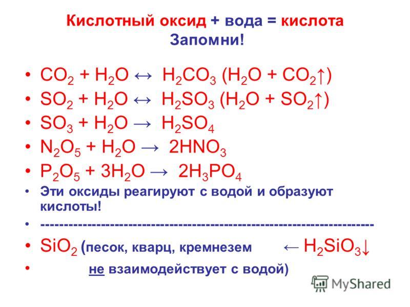 Кислотный оксид + вода = кислота Запомни! СО 2 + Н 2 О Н 2 СО 3 (Н 2 О + СО 2) SО 2 + Н 2 О Н 2 SО 3 (Н 2 О + SО 2) SО 3 + Н 2 О Н 2 SО 4 N 2 O 5 + Н 2 О 2HNO 3 P 2 O 5 + 3Н 2 О 2H 3 PO 4 Эти оксиды реагируют с водой и образуют кислоты! -------------