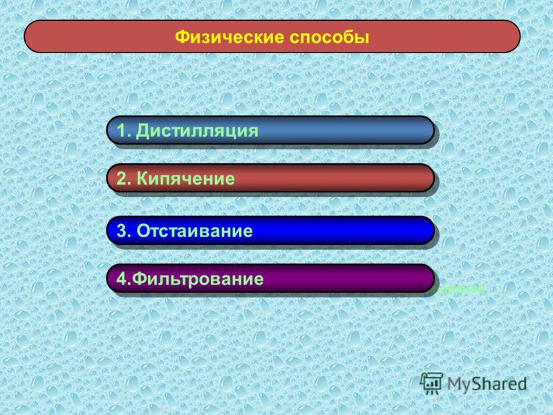 Физические способы хлорирования 1. Дистилляция 2. Кипячение 3. Отстаивание 4.Фильтрование