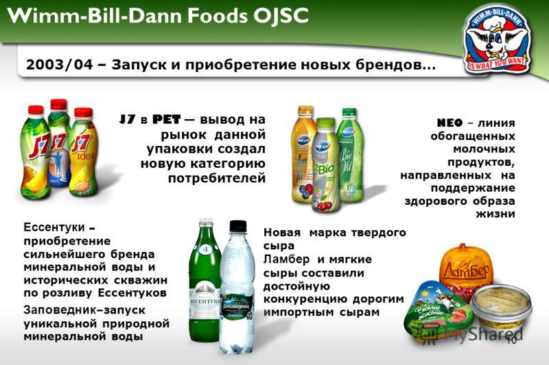 Wimm-Bill-Dann Foods OJSC 10 2003/04 – Запуск и приобретение новых брендов… J7 в PET вывод на рынок данной упаковки создал новую категорию потребителей Ессентуки – приобретение сильнейшего бренда минеральной воды и исторических скважин по розливу Есс