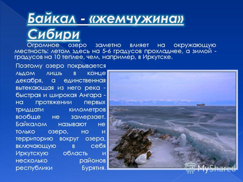 Огромное озеро заметно влияет на окружающую местность: летом здесь на 5-6 градусов прохладнее, а зимой - градусов на 10 теплее, чем, например, в Иркутске. Поэтому озеро покрывается льдом лишь в конце декабря, а единственная вытекающая из него река -