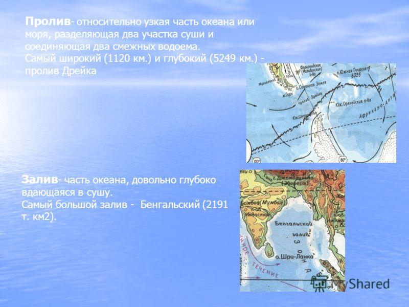 Пролив - относительно узкая часть океана или моря, разделяющая два участка суши и соединяющая два смежных водоема. Самый широкий (1120 км.) и глубокий (5249 км.) - пролив Дрейка Залив - часть океана, довольно глубоко вдающаяся в сушу. Самый большой з