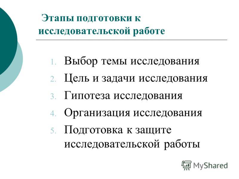 Этапы подготовки к исследовательской работе 1. Выбор темы исследования 2. Цель и задачи исследования 3. Гипотеза исследования 4. Организация исследования 5. Подготовка к защите исследовательской работы