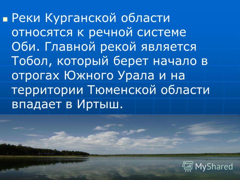Реки Курганской области относятся к речной системе Оби. Главной рекой является Тобол, который берет начало в отрогах Южного Урала и на территории Тюменской области впадает в Иртыш.