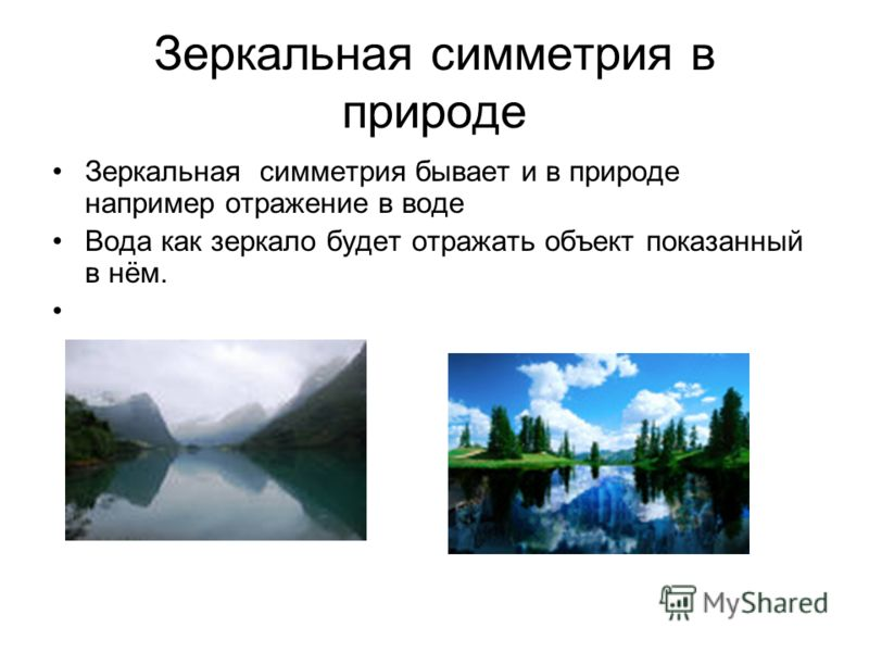 Зеркальная симметрия в природе Зеркальная симметрия бывает и в природе например отражение в воде Вода как зеркало будет отражать объект показанный в нём.