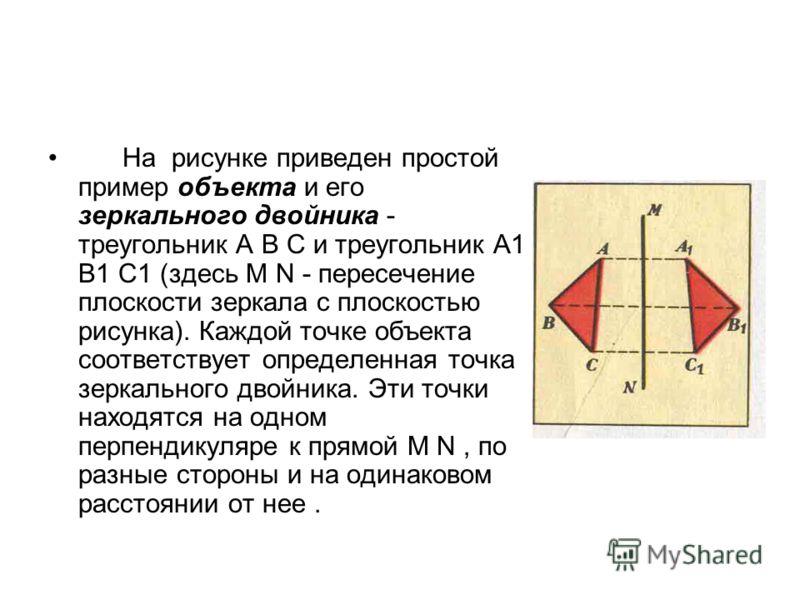 На рисунке приведен простой пример объекта и его зеркального двойника - треугольник А В С и треугольник А1 В1 С1 (здесь М N - пересечение плоскости зеркала с плоскостью рисунка). Каждой точке объекта соответствует определенная точка зеркального двойн