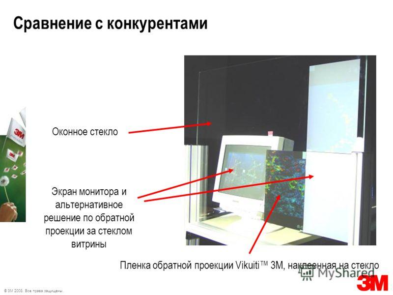 © 3M 2008. Все права защищены. Сравнение с конкурентами Оконное стекло Пленка обратной проекции Vikuiti 3М, наклеенная на стекло Экран монитора и альтернативное решение по обратной проекции за стеклом витрины