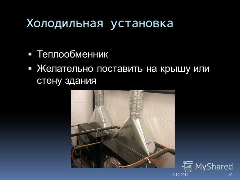 Холодильная установка Теплообменник Желательно поставить на крышу или стену здания 29.7.2012 31
