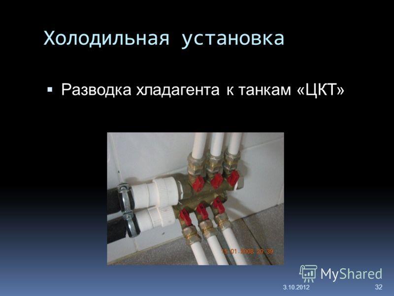 Холодильная установка Разводка хладагента к танкам «ЦКТ» 29.7.2012 32