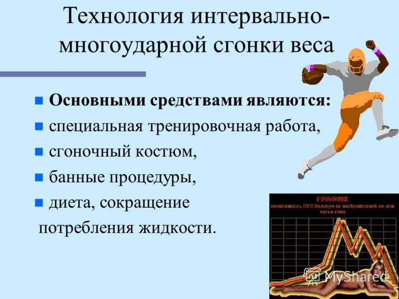 Технология интервально- многоударной сгонки веса n n Основными средствами являются: n n специальная тренировочная работа, n n сгоночный костюм, n n банные процедуры, n n диета, сокращение потребления жидкости.