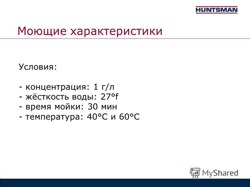Моющие характеристики Условия: - концентрация: 1 г/л - жёсткость воды: 27°f - время мойки: 30 мин - температура: 40°C и 60°C