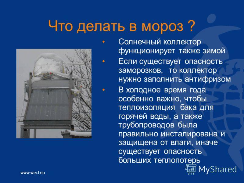 www.wecf.eu Что делать в мороз ? Солнечный коллектор функционирует также зимой Если существует опасность заморозков, то коллектор нужно заполнить антифризом В холодное время года особенно важно, чтобы теплоизоляция бака для горячей воды, а также труб