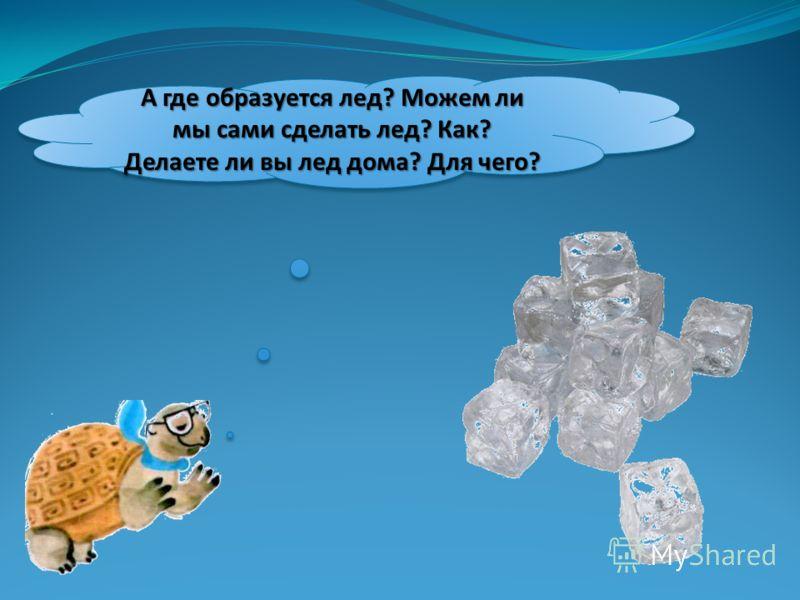 А где образуется лед? Можем ли мы сами сделать лед? Как? Делаете ли вы лед дома? Для чего?