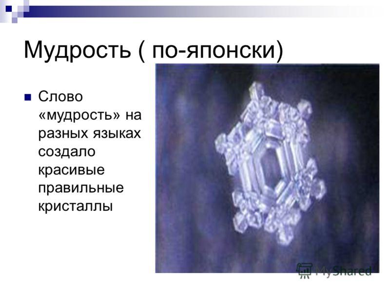 Мудрость ( по-японски) Слово «мудрость» на разных языках создало красивые правильные кристаллы