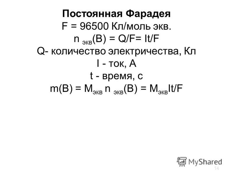 14 Постоянная Фарадея F = 96500 Кл/моль экв. n экв (B) = Q/F= It/F Q- количество электричества, Кл I - ток, А t - время, с m(B) = M экв n экв (B) = M экв It/F