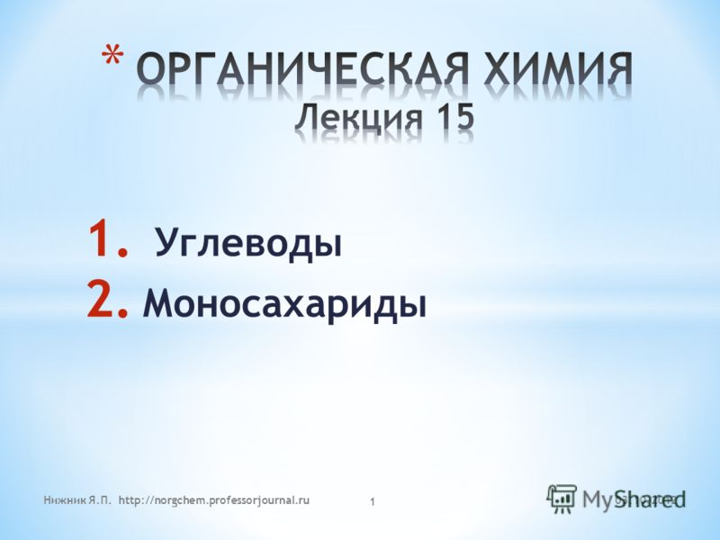 1. Углеводы 2. Моносахариды 29.07.2012Нижник Я.П. http://norgchem.professorjournal.ru 1