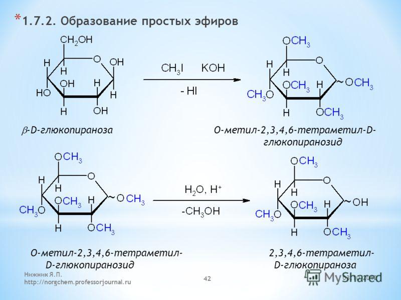 29.07.2012 Нижник Я.П. http://norgchem.professorjournal.ru 42 * 1.7.2. Образование простых эфиров -D-глюкопираноза O-метил-2,3,4,6-тетраметил-D- глюкопиранозид O-метил-2,3,4,6-тетраметил- 2,3,4,6-тетраметил- D-глюкопиранозид D-глюкопираноза