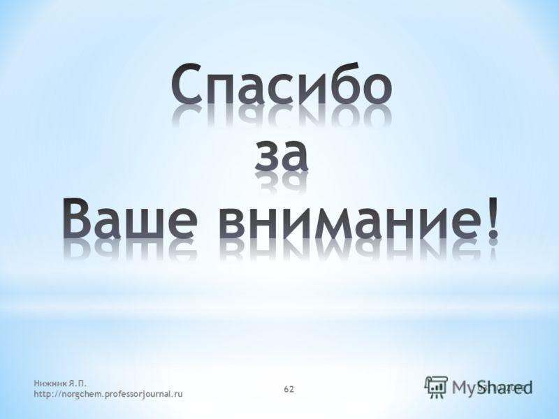 29.07.2012 Нижник Я.П. http://norgchem.professorjournal.ru 62