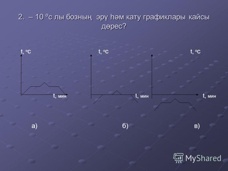 2. – 10 ºс лы бозның эрү һәм кату графиклары кайсы дөрес? t, º с t, º с t, º с t, мин t, мин t, мин а) б) в)