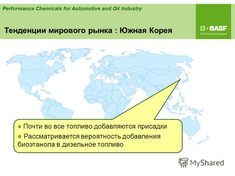 Performance Chemicals for Automotive and Oil Industry Почти во все топливо добавляются присадки Рассматривается вероятность добавления биоэтанола в дизельное топливо Тенденции мирового рынка : Южная Корея