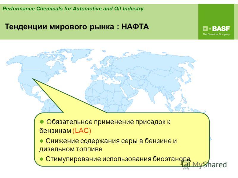 Performance Chemicals for Automotive and Oil Industry Обязательное применение присадок к бензинам (LAC) Снижение содержания серы в бензине и дизельном топливе Стимулирование использования биоэтанола Тенденции мирового рынка : НАФTA