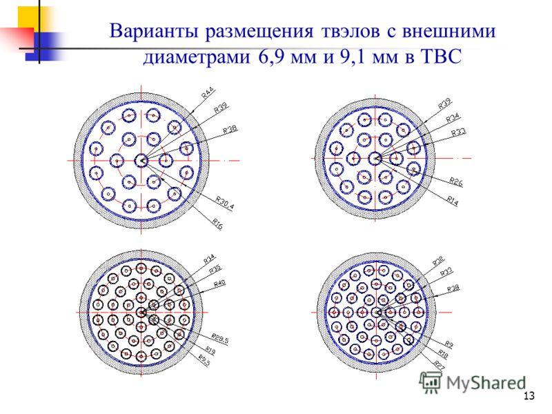 13 Варианты размещения твэлов с внешними диаметрами 6,9 мм и 9,1 мм в ТВС