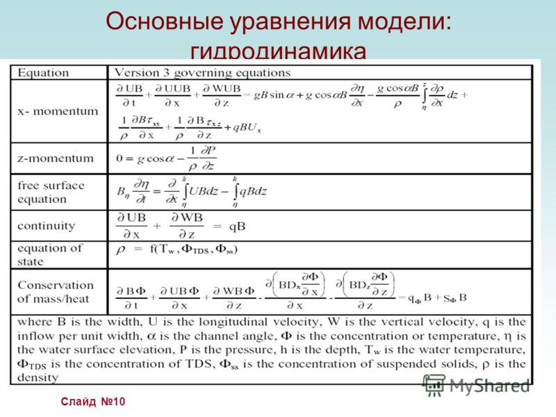 Слайд 10 Основные уравнения модели: гидродинамика