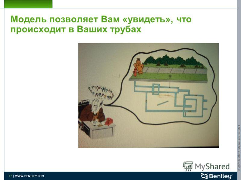 © 2009 Bentley Systems, Incorporated 17 | WWW.BENTLEY.COM Модель позволяет Вам «увидеть», что происходит в Ваших трубах