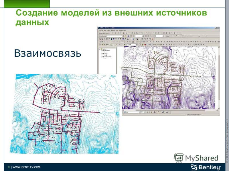 © 2009 Bentley Systems, Incorporated 8 | WWW.BENTLEY.COM Создание моделей из внешних источников данных Взаимосвязь