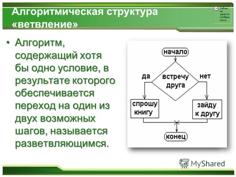 Алгоритмическая структура «ветвление» Алгоритм, содержащий хотя бы одно условие, в результате которого обеспечивается переход на один из двух возможных шагов, называется разветвляющимся.Алгоритм, содержащий хотя бы одно условие, в результате которого