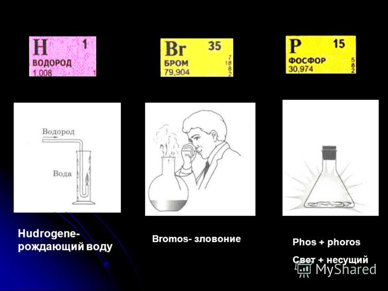 Hudrogene- рождающий воду Bromos- зловоние Phos + phoros Свет + несущий