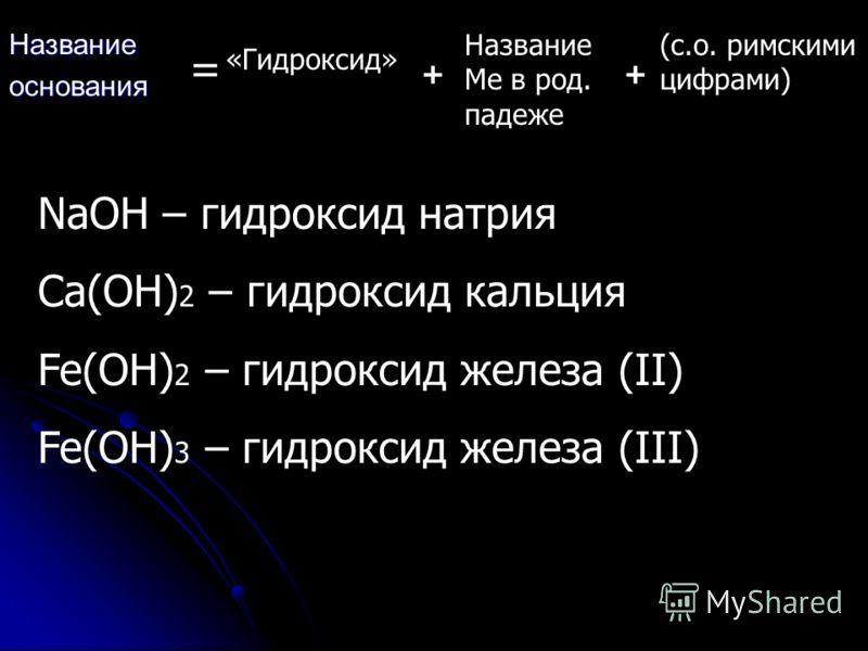Названиеоснования = «Гидроксид» + Название Ме в род. падеже + (с.о. римскими цифрами) NaOH – гидроксид натрия Ca(OH) 2 – гидроксид кальция Fe(OH) 2 – гидроксид железа (II) Fe(OH) 3 – гидроксид железа (III)