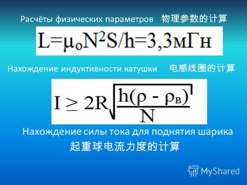 Расчёты физических параметров Нахождение индуктивности катушки Нахождение силы тока для поднятия шарика