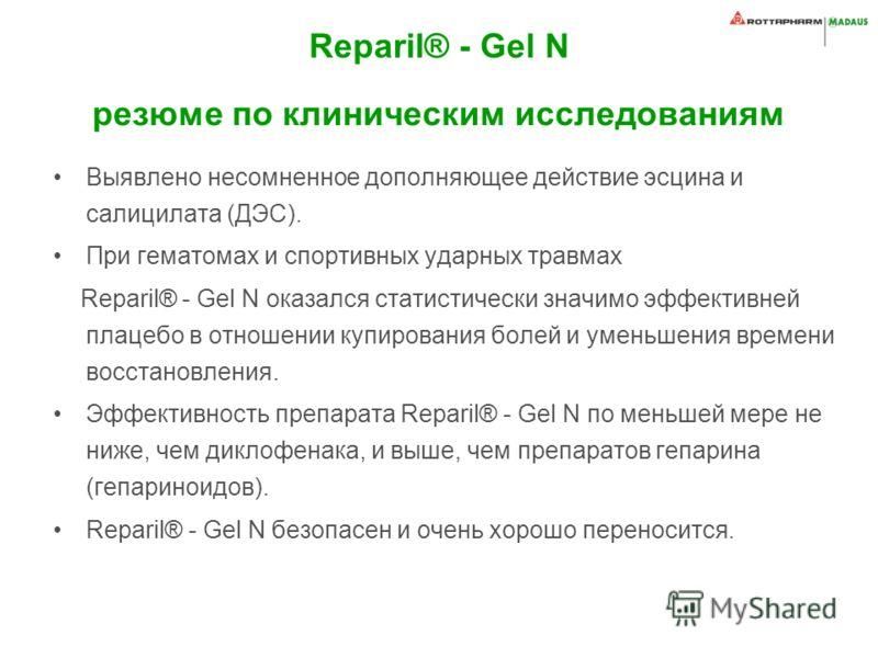 Reparil® - Gel N резюме по клиническим исследованиям Выявлено несомненное дополняющее действие эсцина и салицилата (ДЭС). При гематомах и спортивных ударных травмах Reparil® - Gel N оказался статистически значимо эффективней плацебо в отношении купир